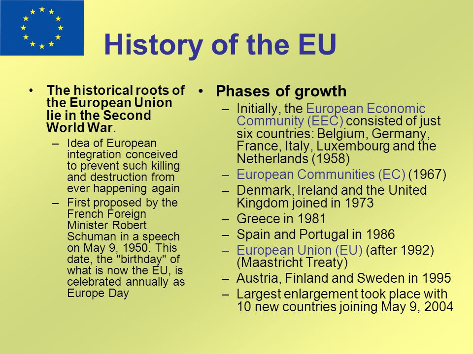 History of the EU Phases of growth