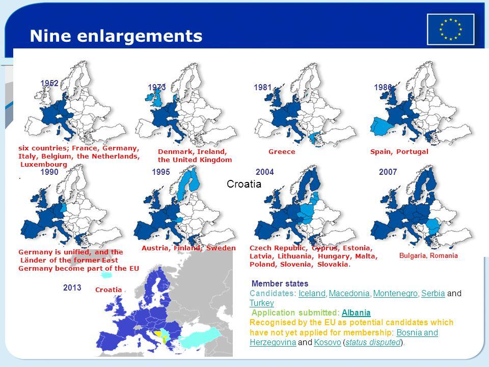 Nine enlargements Croatia 1952 1973 1981 1986 1990 1995 2004 2007