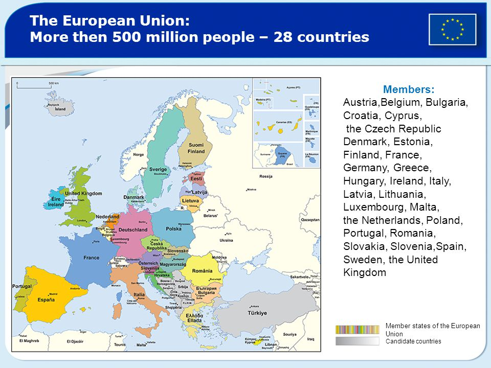 The European Union: More then 500 million people – 28 countries