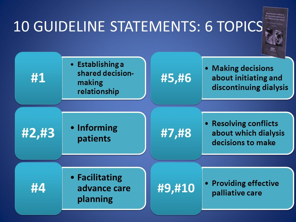 10 GUIDELINE STATEMENTS: 6 TOPICS