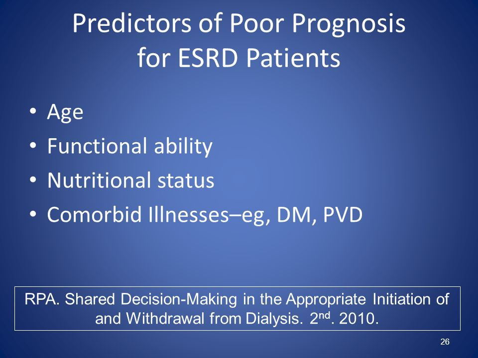 Predictors of Poor Prognosis for ESRD Patients