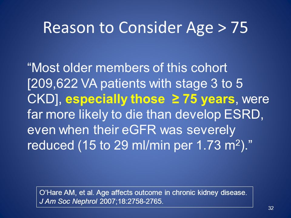 Reason to Consider Age > 75