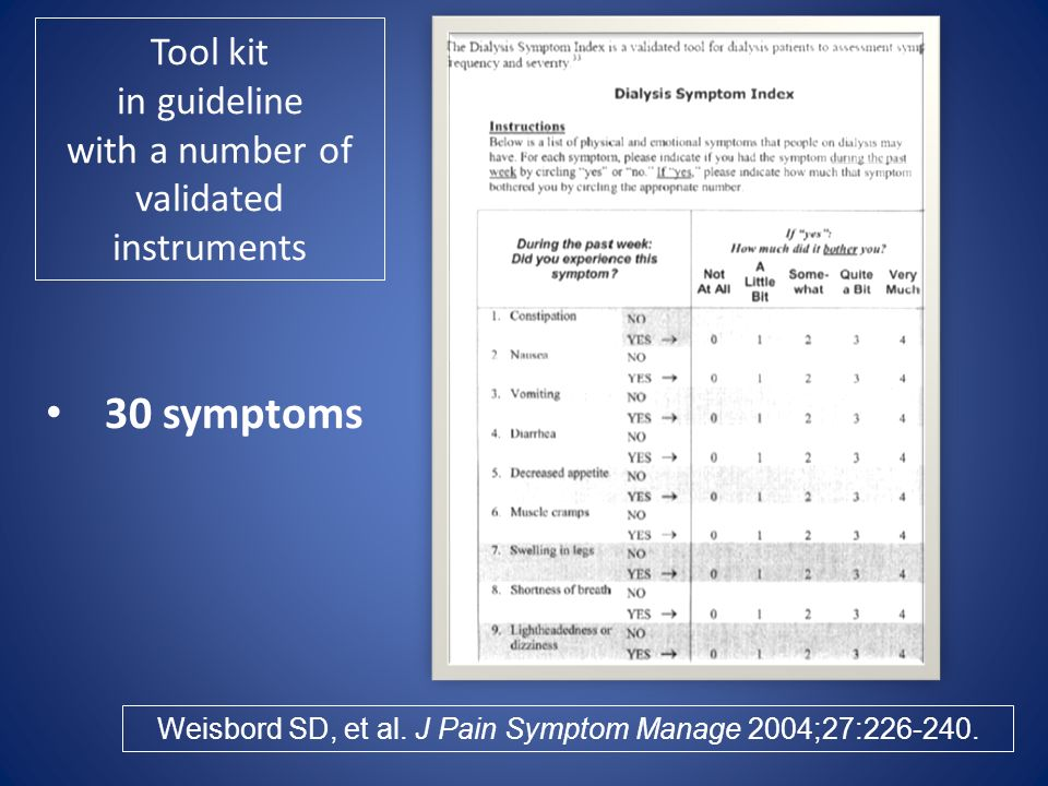 Tool kit in guideline with a number of validated instruments