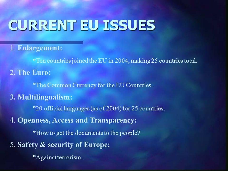CURRENT EU ISSUES 1. Enlargement: