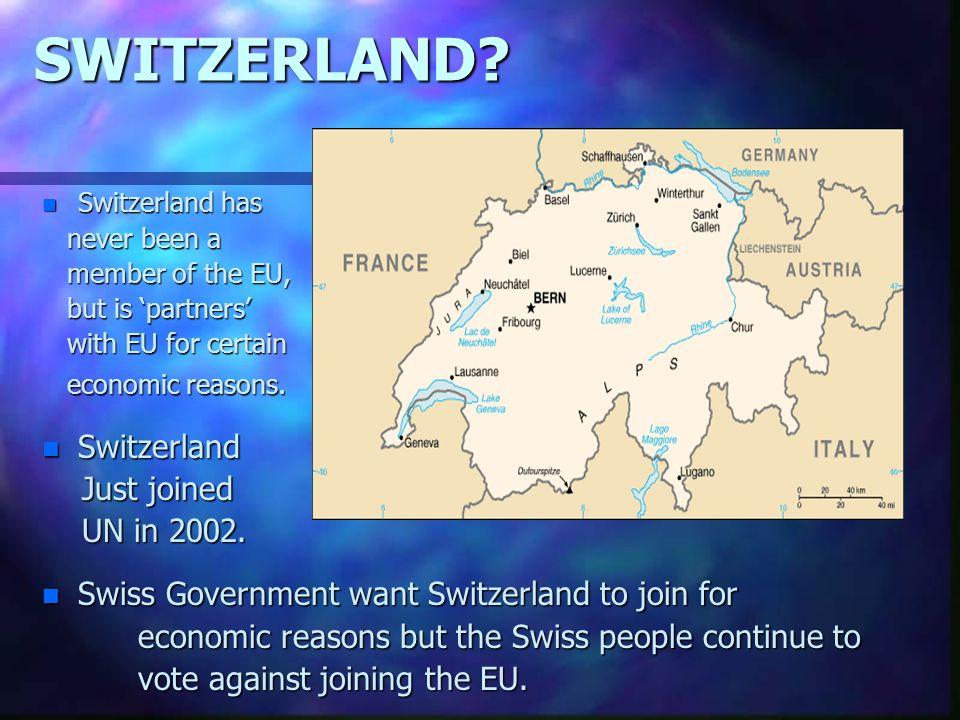 SWITZERLAND Switzerland Just joined UN in 2002.