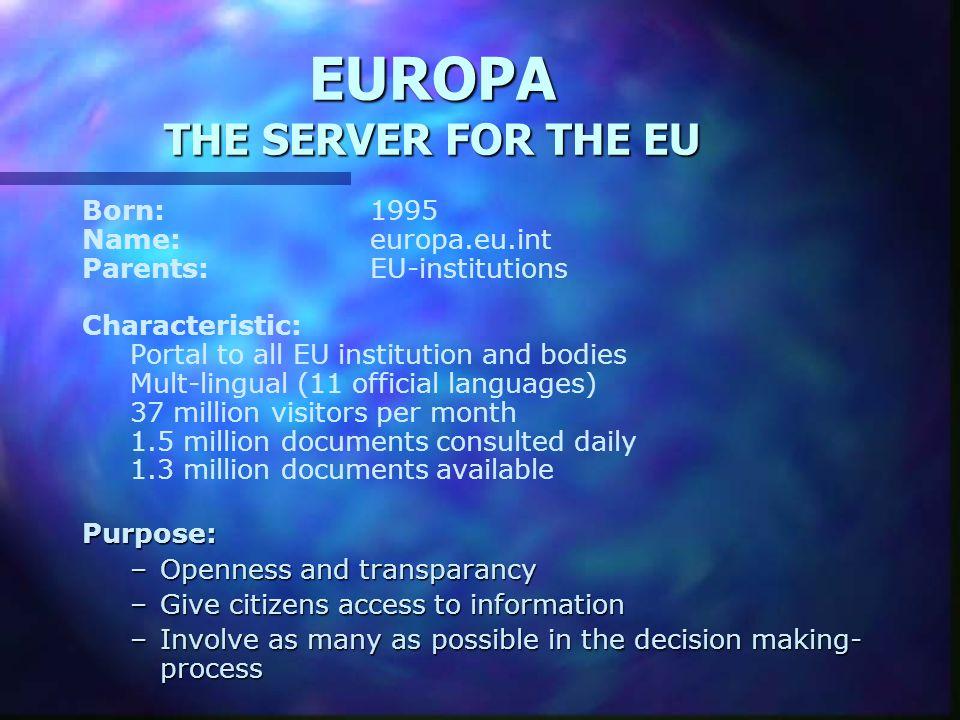 EUROPA THE SERVER FOR THE EU