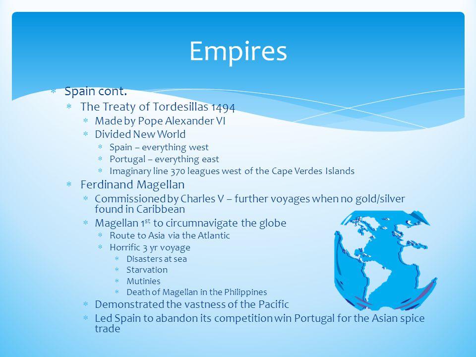 Empires Spain cont. The Treaty of Tordesillas 1494 Ferdinand Magellan