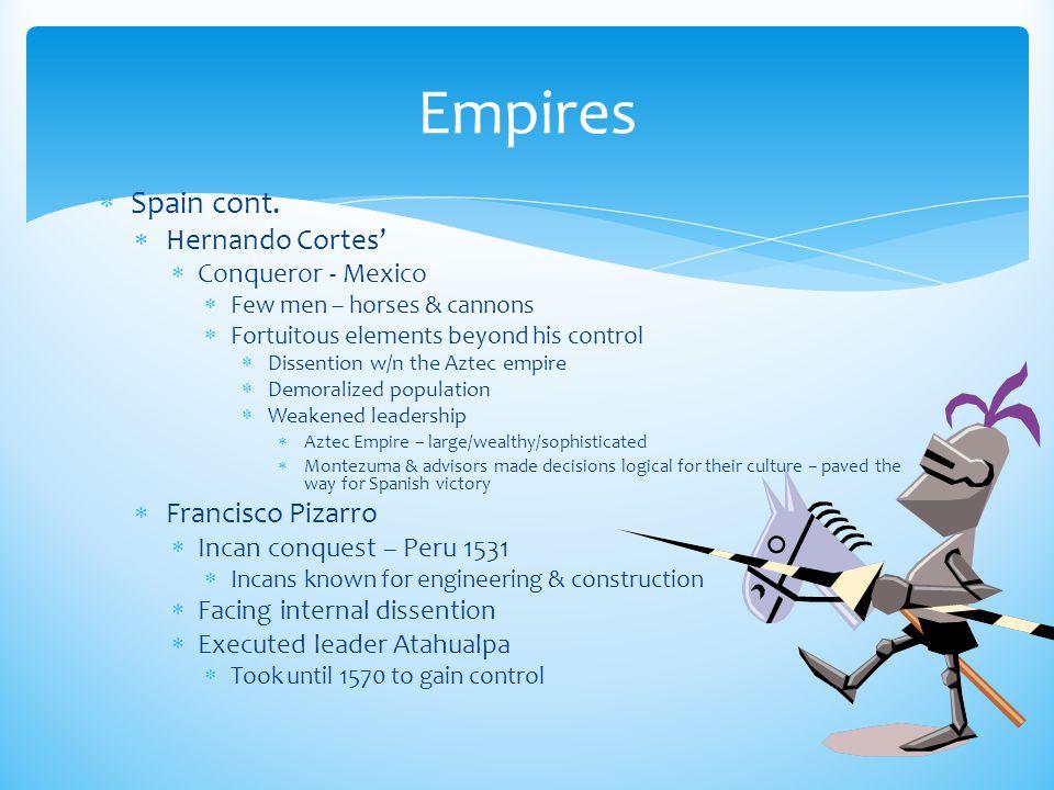 Empires Spain cont. Hernando Cortes' Francisco Pizarro