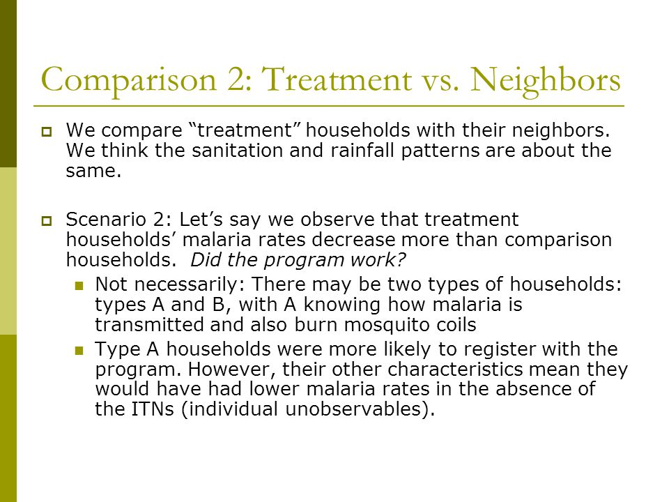 Comparison 2: Treatment vs. Neighbors