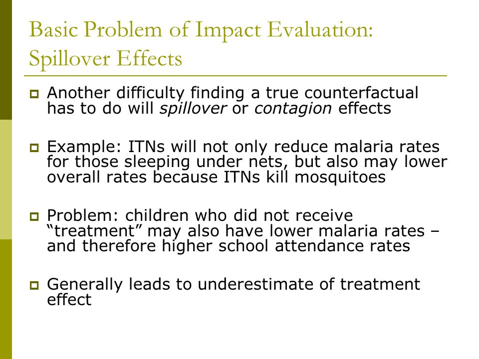 Basic Problem of Impact Evaluation: Spillover Effects