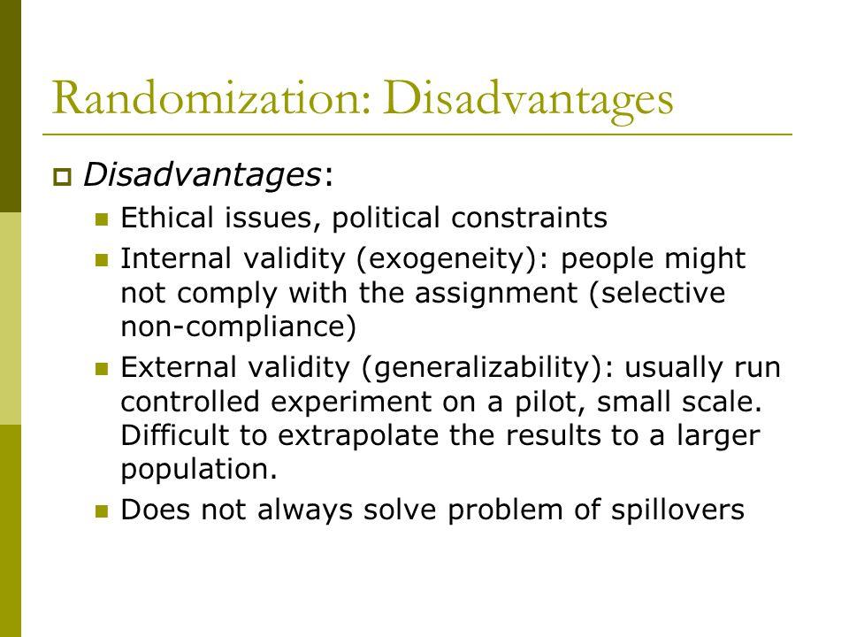 Randomization: Disadvantages