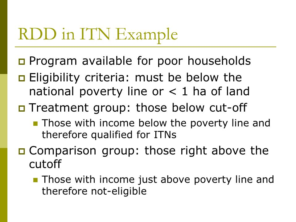 RDD in ITN Example Program available for poor households