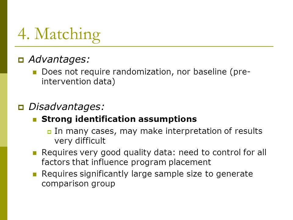 4. Matching Advantages: Disadvantages: