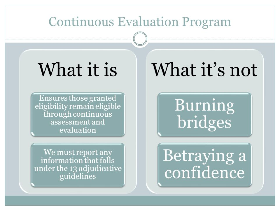 Continuous Evaluation Program