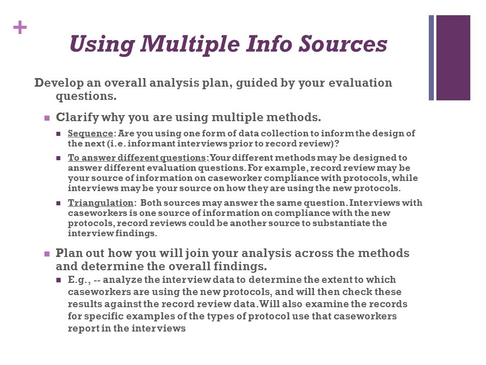 Using Multiple Info Sources