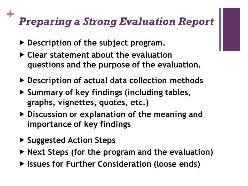 Preparing a Strong Evaluation Report
