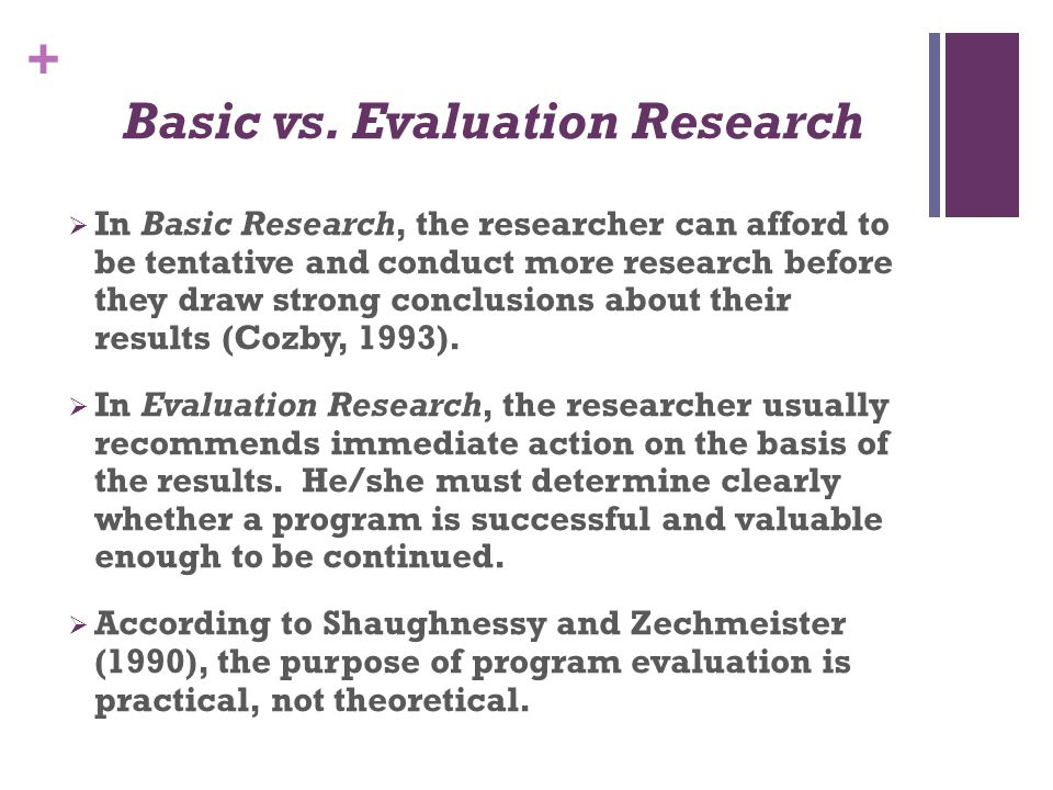 Basic vs. Evaluation Research