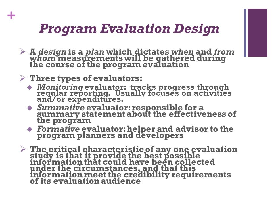 Program Evaluation Design