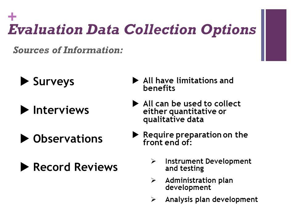 Evaluation Data Collection Options