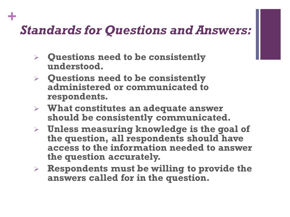 Standards for Questions and Answers: