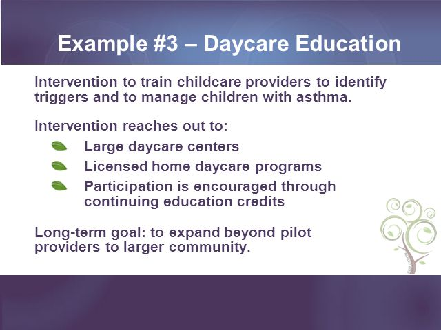 Example #3 – Daycare Education