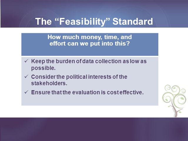 The Feasibility Standard