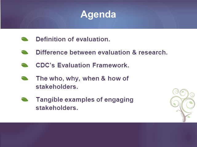 Agenda Definition of evaluation.