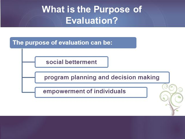 What is the Purpose of Evaluation