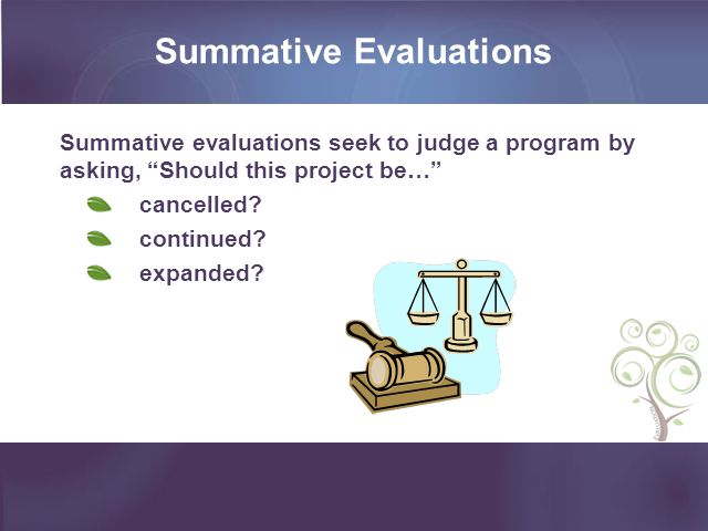 Summative Evaluations