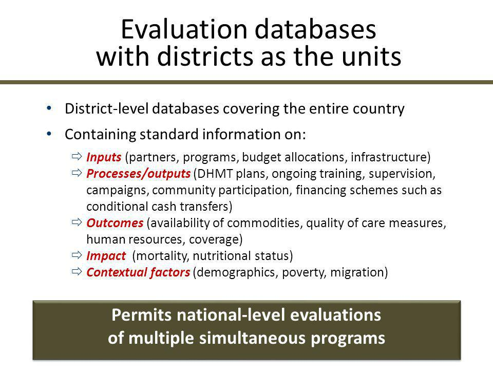 Evaluation databases with districts as the units