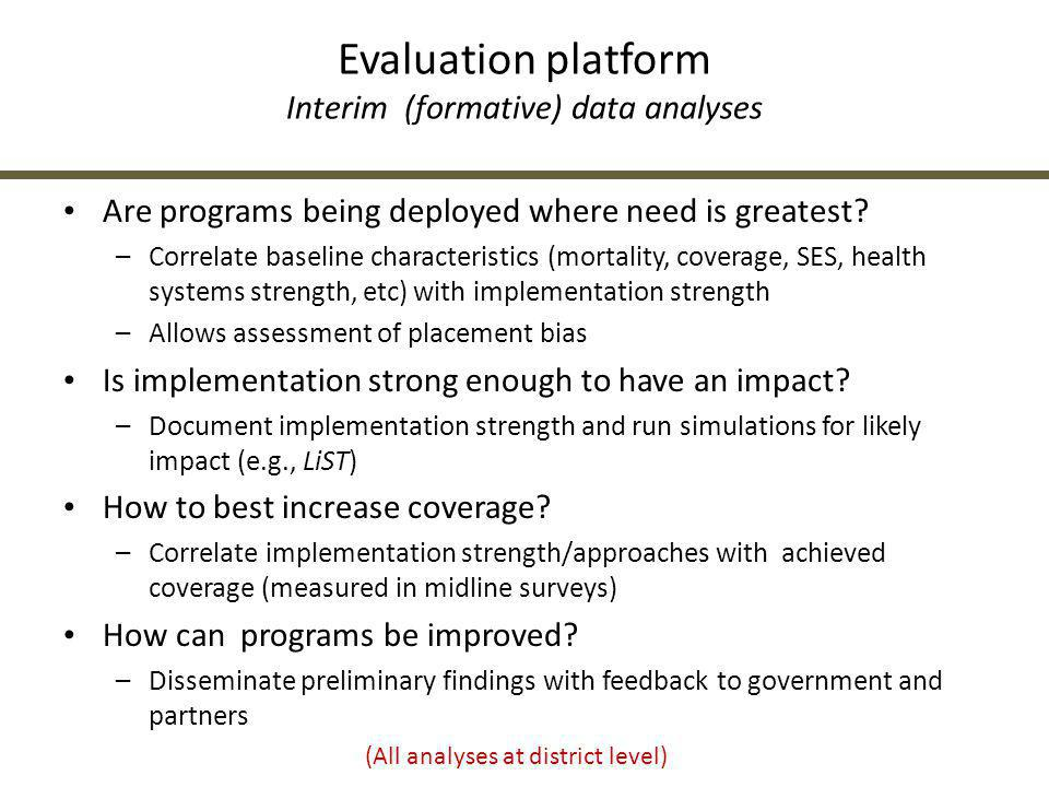 Evaluation platform Interim (formative) data analyses
