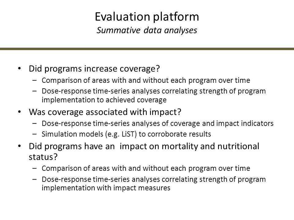 Evaluation platform Summative data analyses
