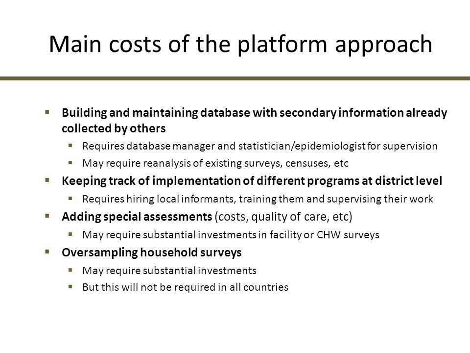Main costs of the platform approach