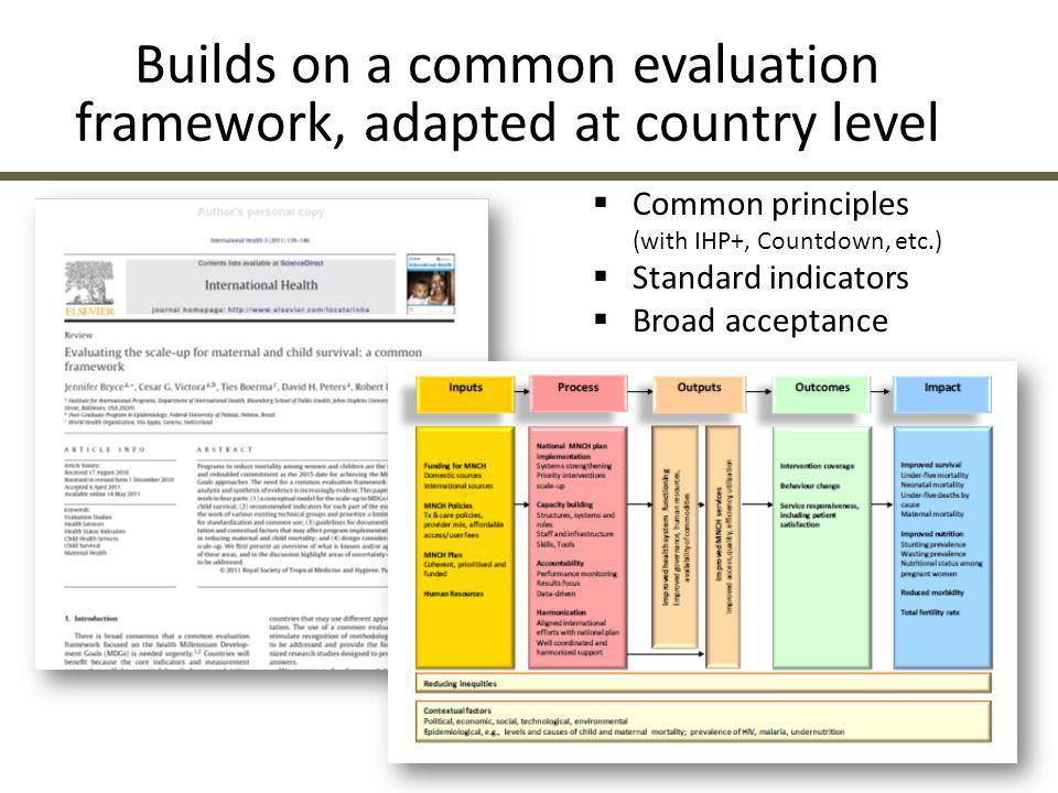 Builds on a common evaluation framework, adapted at country level
