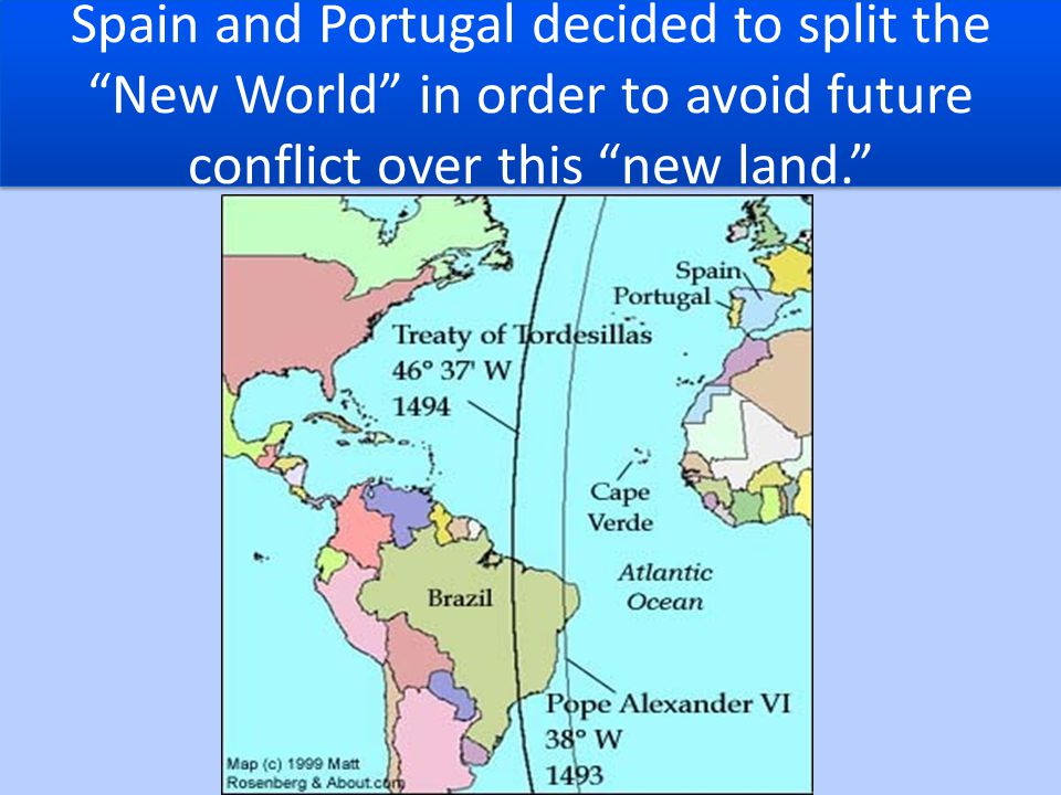 Spain and Portugal decided to split the New World in order to avoid future conflict over this new land.