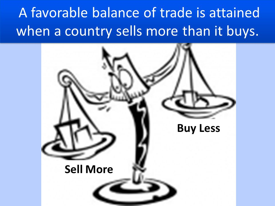 A favorable balance of trade is attained when a country sells more than it buys.