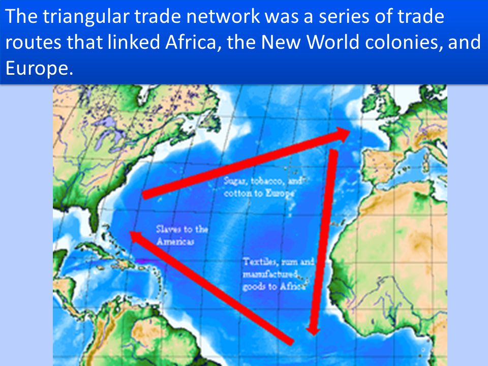 The triangular trade network was a series of trade routes that linked Africa, the New World colonies, and Europe.