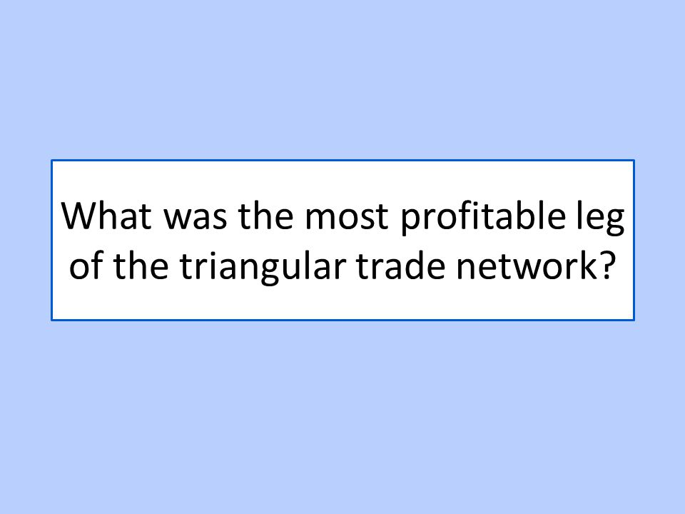 What was the most profitable leg of the triangular trade network
