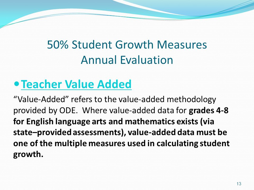 50% Student Growth Measures Annual Evaluation