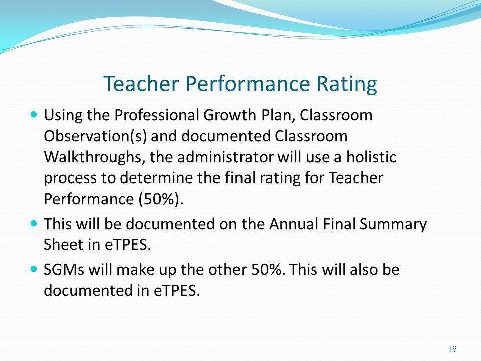 Teacher Performance Rating