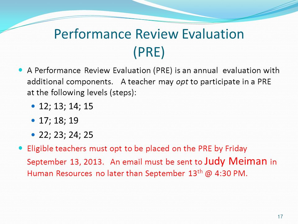 Performance Review Evaluation (PRE)