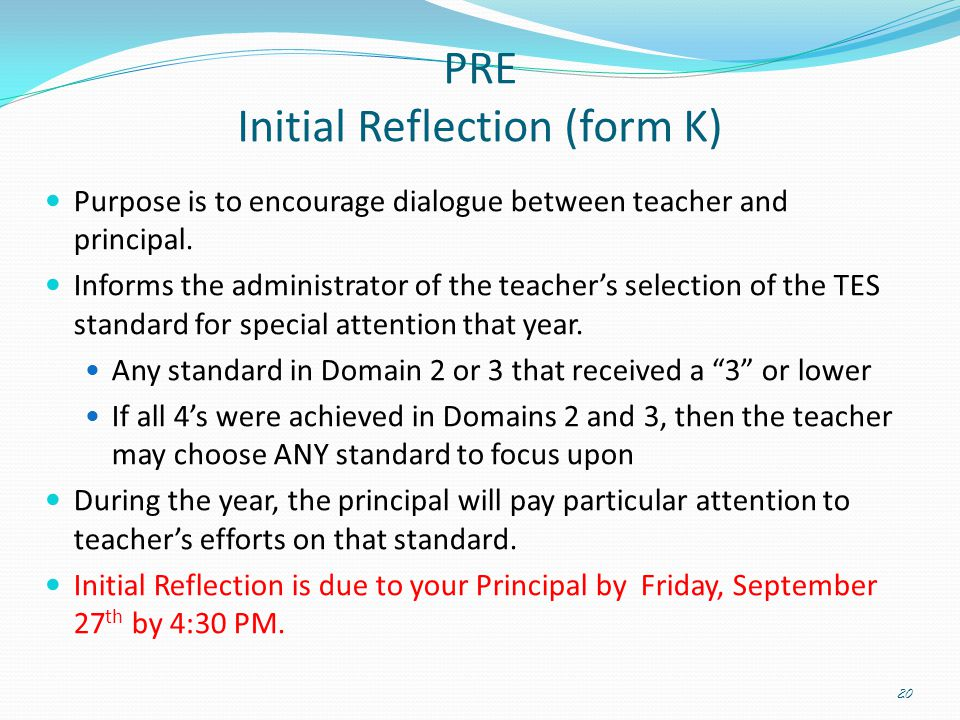 PRE Initial Reflection (form K)
