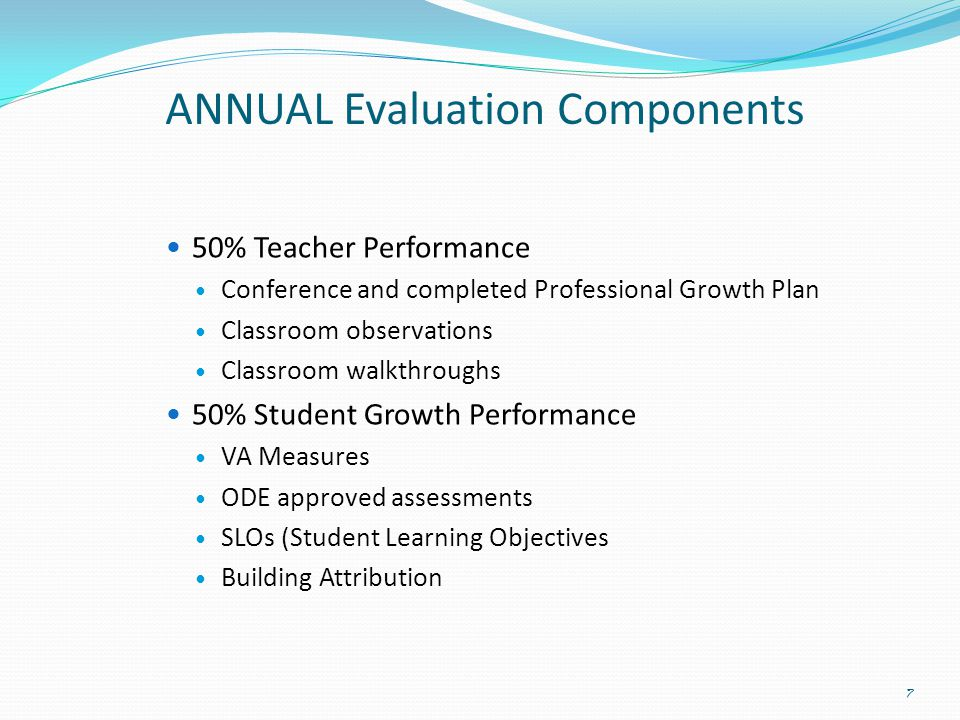 ANNUAL Evaluation Components