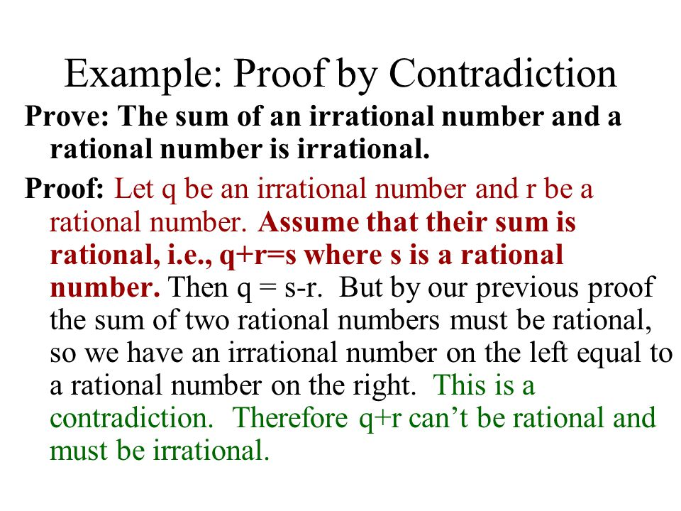 Example: Proof by Contradiction