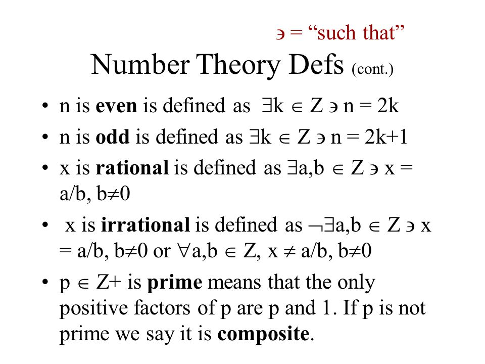 Number Theory Defs (cont.)