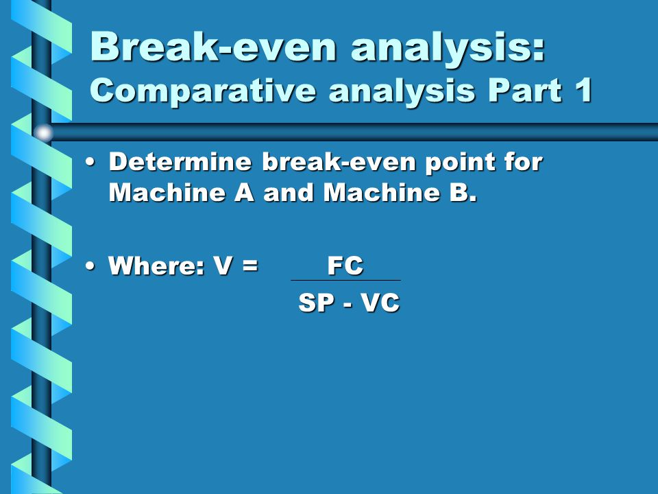 Break-even analysis: Comparative analysis Part 1