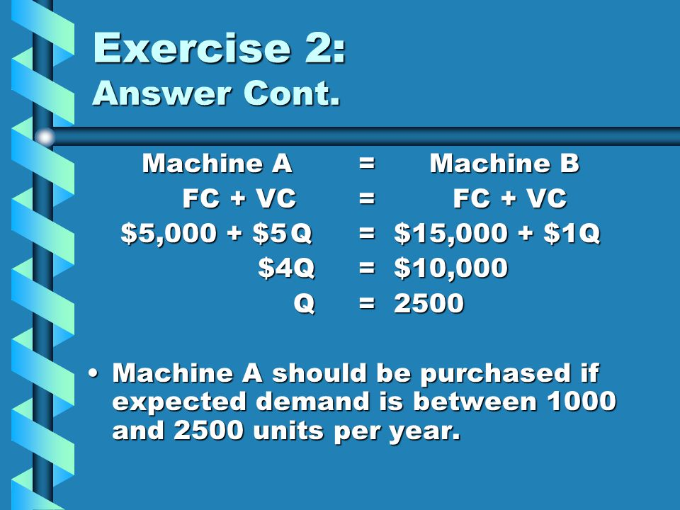 Exercise 2: Answer Cont. Machine A = Machine B FC + VC = FC + VC