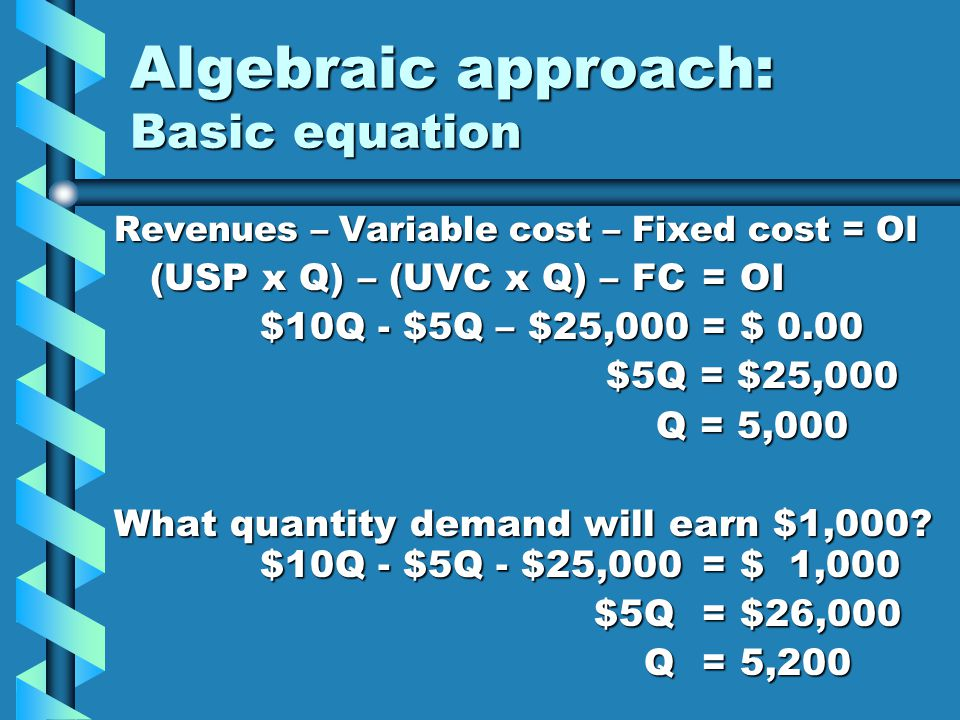 Algebraic approach: Basic equation