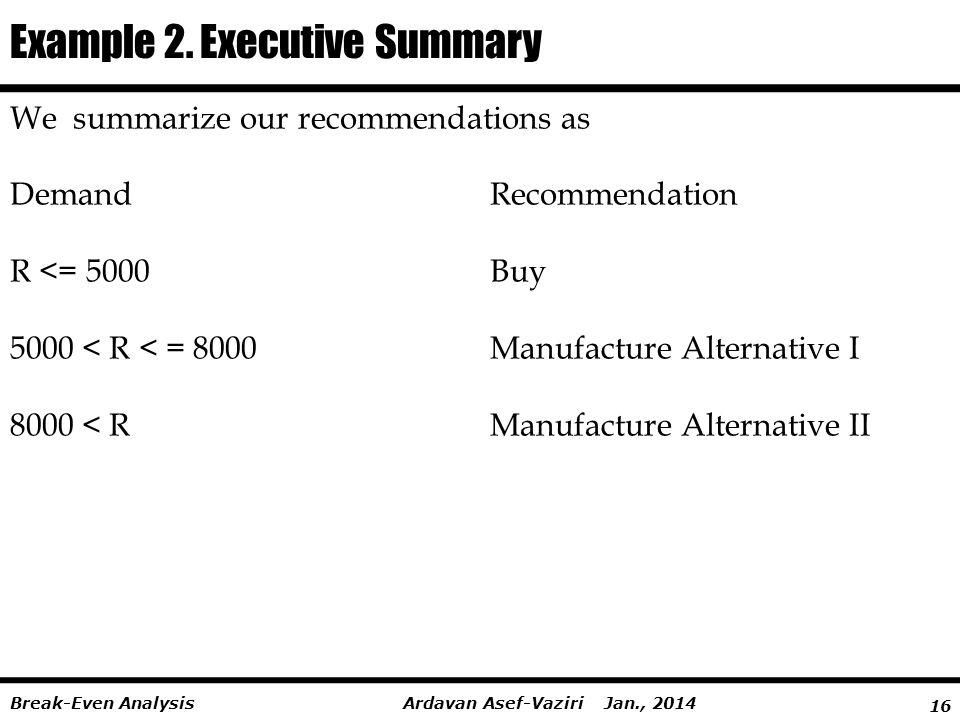 Example 2. Executive Summary