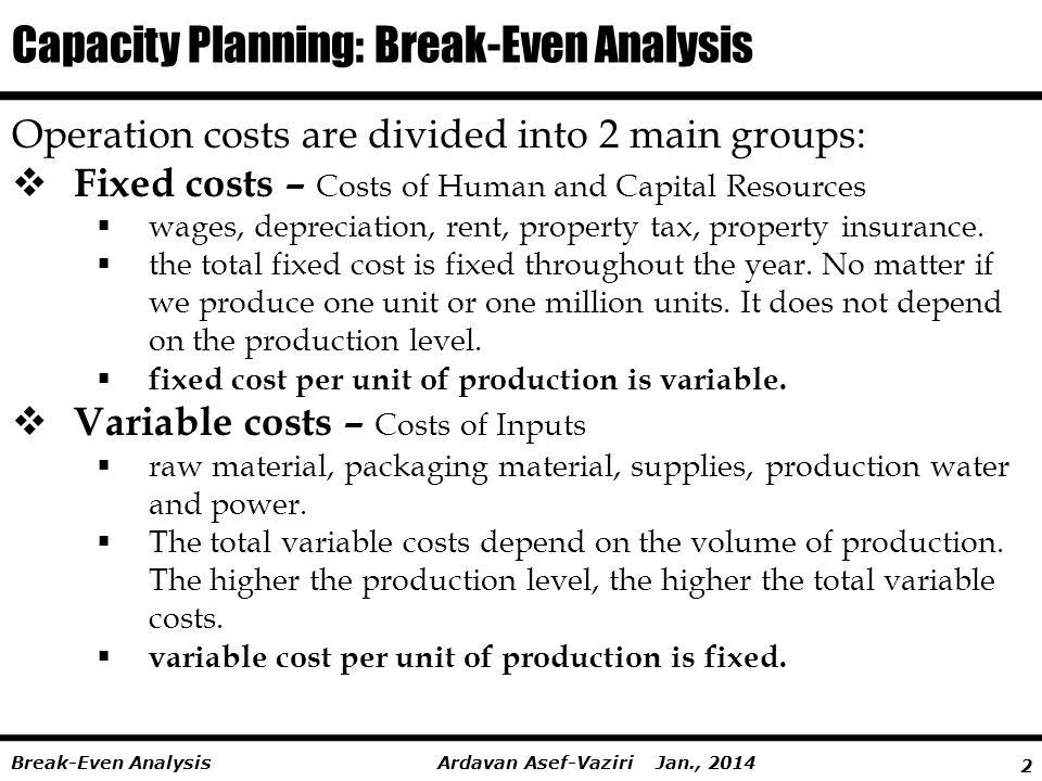 Capacity Planning: Break-Even Analysis